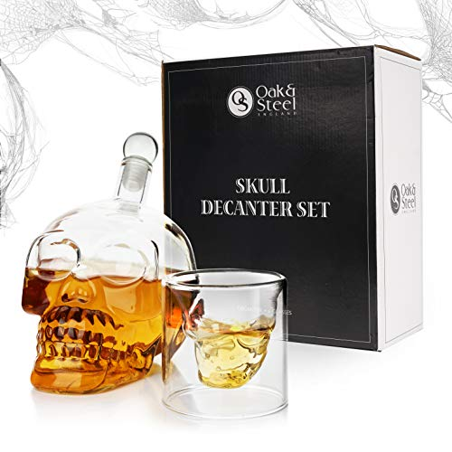 Oak & Steel England Totenkopf Dekanter Geschenkset (500 ml) mit 6 Totenkopf Schnapsgläser - Whisky Karaffe