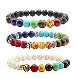 JOVIVI 3 x Lava-bracciale donna uomo energia terapia Yoga-braccialetto 7 Chakra Guarigione Pietra Turchese Equilibrio Energetico braccialetto Bianco Nero Colorato