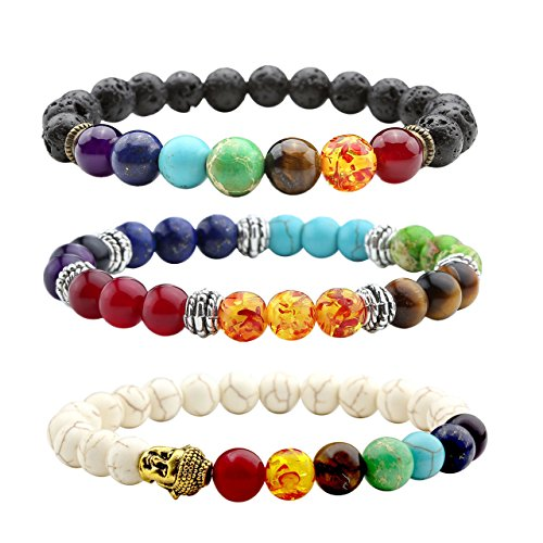 Jovivi 3pcs pulsera tibetano extensible elástico–7Chakra perlas de lava + turquesa blancas + piedras cuarzo perlas de Energie–Unisex 17.5cm 8mm