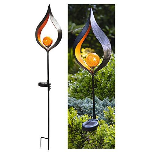 Burwells Solar Stake Light Garden Outdoor Lamp 3ft Tall Black Orange Amber Glow Dusk To Dawn