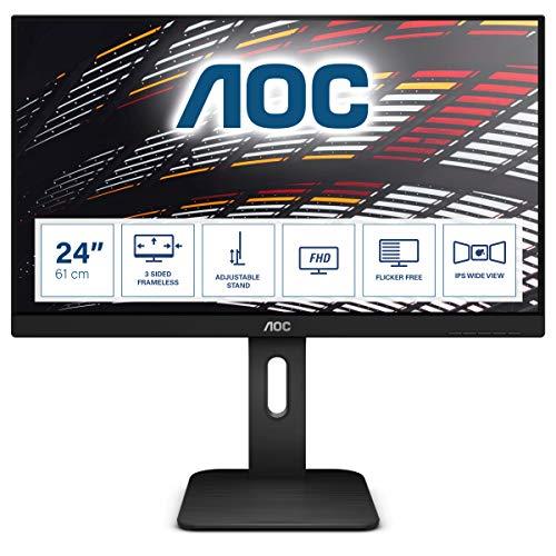 AOC X24P1 - 24 Zoll WUXGA Monitor, höhenverstelllbar (1920x1200, 60 Hz, VGA, DVI, HDMI, DisplayPort, USB Hub) schwarz