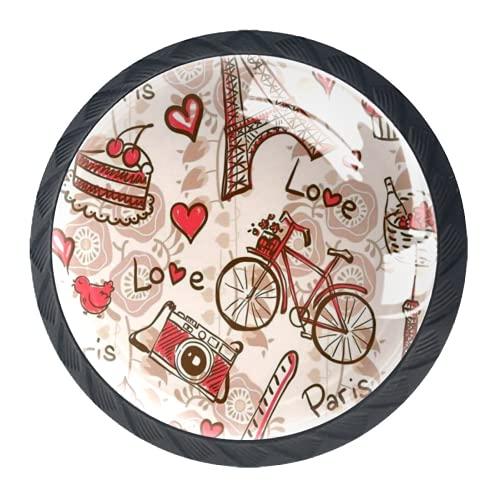OLEEKA Tirador de manijas de cajón Perillas Decorativas del gabinete del cajón Manija del cajón del tocador 4 Piezas,Bicicleta de la Torre Eiffel de parís