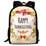 XCNGG Mochila de impresión de fotograma completo para adultos Mochila informal Mochila Mochila escolar Happy Thanksgiving Large Capacity Travel Computer Backpack, Adult Printed Backpack, Anti Splash S