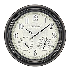Bulova C4813 Weather Master Wall Clock, 18, Black