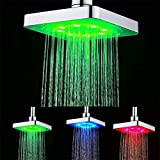 GuDoQi 3 colors changing LED shower head bathroom rainfall shower heads waterfall shower head 6 inch square temperature control