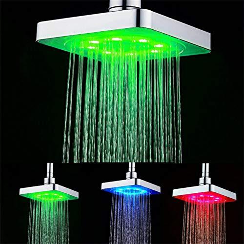 GuDoQi LED Duschkopf Regendusche Deckenbrause Quadrat Überkopfbrause Farbwechsel Kopfbrause für Badezimmer 15 * 15CM 3 Farben