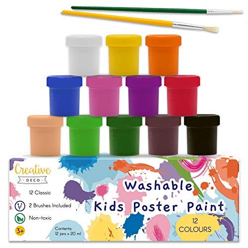 Creative Deco Temperas para Niños Lavable Pintura Dedos Bebes | 12 x 20 ml Botes | No Tóxica | Colores: Básicos Intensos Principiantes y Artistas