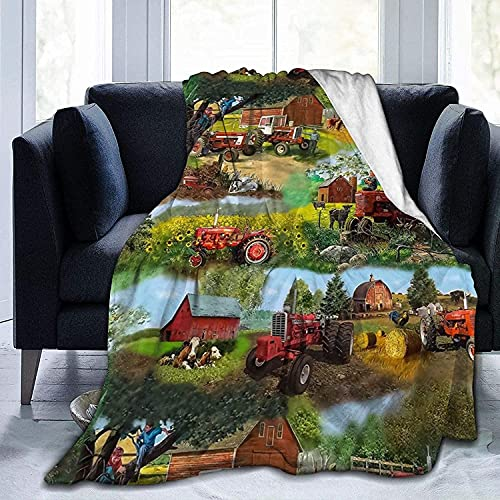 KEROTA Harvester Farmall - Manta de forro polar para sofá de tractor, ligera manta de viaje, acogedora de felpa para mantener caliente manta de franela pequeña para bebés/niños/jóvenes