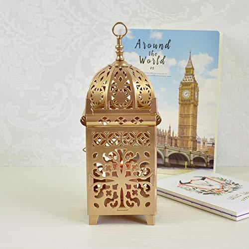 Neaer Bougeoir en fer de style marocain - Lanterne à suspendre pour fête de mariage - Décoration de maison - Couleur : doré
