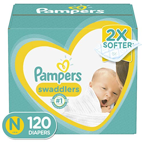 Diapers Newborn/Size 0 ( 10 lb), 120 Count - Pampers Swaddlers Disposable Baby...