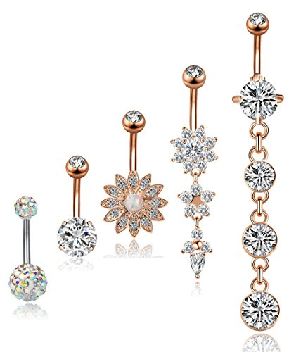 YOVORO 5PCS 14G 316L Stainless Steel Dangle Belly Button Rings for Women Navel Rings Curved Barbell Body Piercing R