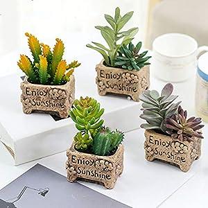 LTJX Artificial Succulents Plants, Small Decorative Faux Succulents in Pot for Home Office Barthroom Table Top Decoration Wedding, 4pcs