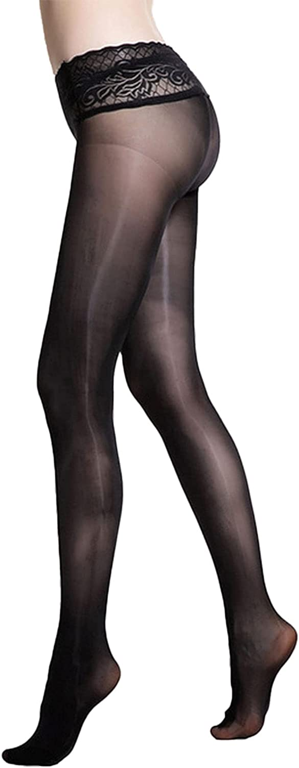 YONGHS Women's Seamless Sheer Nylon Footed Silk Stockings Tights Lace Waistband Low Rise Pantyhose