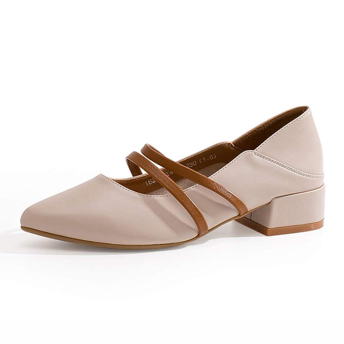 幸運なことに重さのホストHWF レディースシューズ 女性の靴PUレザーカジュアル快適なファッション浅い口の運転靴、ヒールの高さ3.3cm (色 : ベージュ, サイズ さいず : 38)