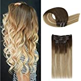 【Buy 2 Save 5%】Moresoo 14 Inch Clip in Natural Hair Extensions Full Head Extensions Fashion Color Brown 6 Ombre to 14 with 26 Blonde Remy Human Hair Extensions Clip in Brazilian Hair 70G/5Pcs
