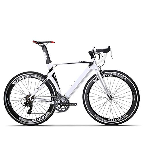 HZWZ Road Bike 54CM Light Aluminum Frame 14 Speed 700C Road Bicycle Aluminum Alloy Road Bike Road Race Car Men and Women Road Off-Road Vehicle,White