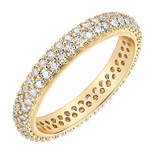PAVOI 14K Gold Plated Cubic Zirconia Double Row Eternity Band Yellow Gold for Women Size 5.5