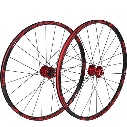 CHP 26/27,5 Pulgadas Bicicleta de montaña Ruedas, MTB Rueda Juego de Discos de Freno de llanta 8 9 10 11 Velocidad rodamientos sellados Eje híbrido Touring Bike (Color : White, Size : 26inch)