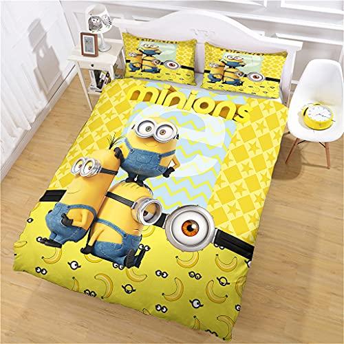 Bettbezug Mikrofaser 1/2 Person Cowboy-Minions Bettwäsche 3D Bedruckt und Kissenbezug, 135 x 200 cm Super Weicher Bettbezug Mit Reißverschluss Für Erwachsene Und Kinder