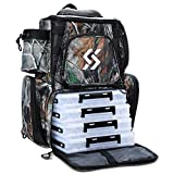 Sougayilang Fishing Tackle Backpack Waterproof Tackle Bag Storage with 4 Trays Tackle Box and Protective Rain Cover for Camping Hiking - Camouflage