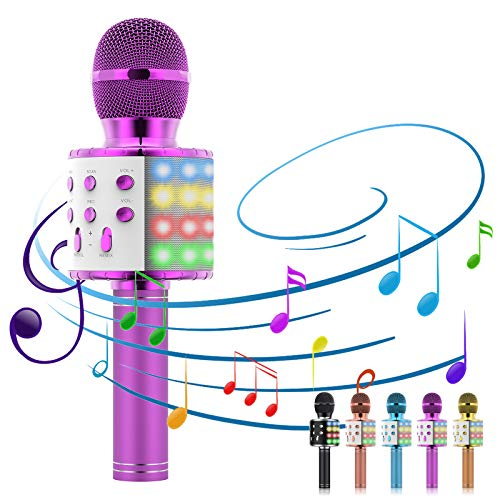 Karaoke Microphone, 5-in-1 Microphone for Kids Portable Handheld Bluetooth Microphone, Microphone for Singing with LED Speaker Player Recorder Kids Microphone for gifts/Adults/Home KTV Party (Pink)