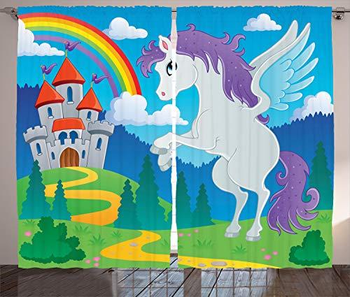 ABAKUHAUS Fantasía Cortinas, Unicornio con la Hada del Arco Iris, Sala de Estar Dormitorio Cortinas Ventana Set de Dos Paños, 280 x 225 cm, Multicolor