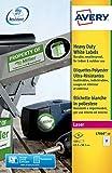 Avery L7060-20 (63,5 x 38,1 mm), etiquetas adhesivas resistentes a la intemperie, 21 etiquetas por hoja A4