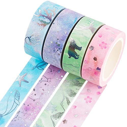 YUBBAEX Silver Washi Tape IG Style Laser Foil Masking Tape Set Decorative for Arts, DIY Crafts, Bullet Journal Supplies, Planners, Scrapbook, Card/Gift Wrapping -4 Rolls x 15mm- (Watercolor Laser)