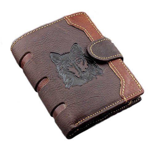 Men's Cool Eagle Wolf Totem Cowhide Leather Vertical Wallet Zipper Multi-card Cardholder … (Wolf Totem B)
