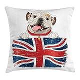 English Bulldog Throw Pillow Cushion Cover, Happy Pet Bulldog Holding a Union Jack Flag of The Great Britain Deco