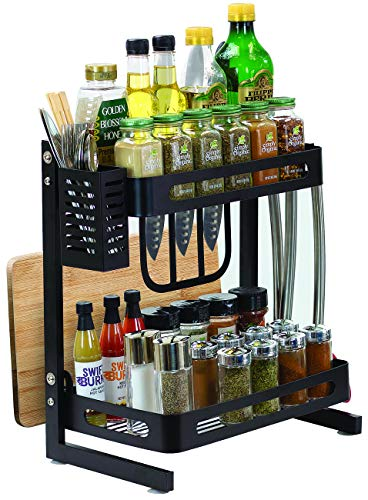 Sorbus 2Tier Kitchen Spice Rack Utensil Holder Countertop Freestanding Shelf Organizer for Jars Bottles etc Includes Knife Cutlery Chopping Board Storage plus 3 Hooks Metal 2Tier