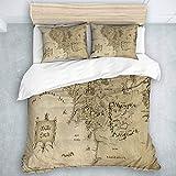 QINCO Bedding Juego de Funda de Edredón,El Señor del Anillo Mapa de la Tierra Media,Microfibra (Cama 140x200 + Almohada 50X80),Single