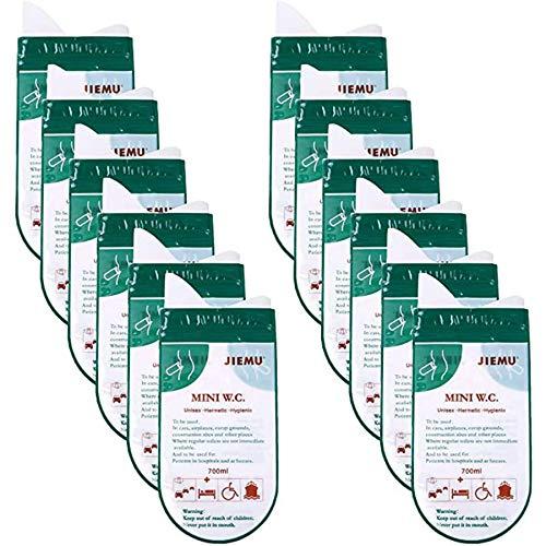 CYC 12 Piezas de Bolsas de Urinario Desechables Alto Sello 700ml Sin Fugas Bolsas de Orina para Inodoro de Orinal de Cámping Viaje Alpinismo Atasco DD Tráfico,Verde