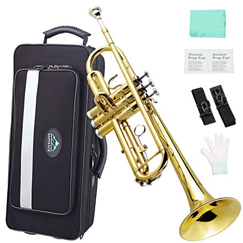 EastRock Gold Trumpet Brass Standard Bb Trumpet Instrument Set for Beginner Student, with Hard Case,Gloves, 7C Mouthpiece,Trumpet Cleaning Kit-Lacquer Gold