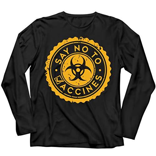 lepni.me Camiseta de Manga Larga para Hombre Di no a Las Vacunas Lema de Seguridad contra la Vacunacin Obligatoria (5XL Negro Multicolor)