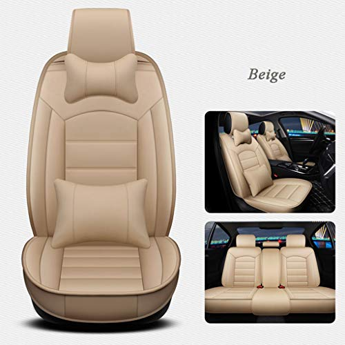Autostoelhoezen, universeel leder voor en achter stoel volledige set beschermers airbag compatibel en gespleten bank met kussens voor 5 zits voertuig Beige