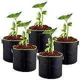 GOOHEAL Bolsas de Cultivo, 5 Piezas de 10 galones de Plantas de jardín Macetas de árboles en Crecimiento Maceta de Tela Plantas de Semillas Grandes Inicio, Vegetal Fresa Jardín