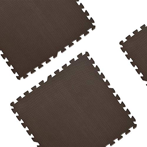 Mat Exercise Mats Gym Interlocking Puzzle EVA Floor Tiles Protective Fitness Pilates Yoga Training Mat Set of 4 Brown 23.6'x23.6' Mats (Size : Thickness 2cm)