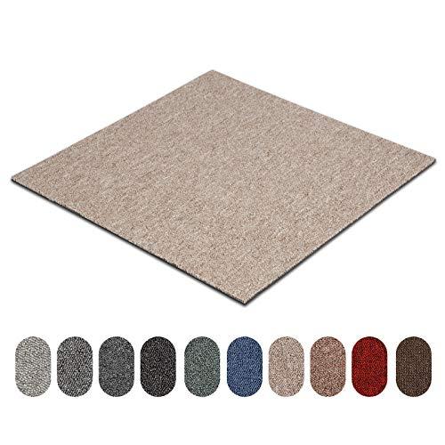 Teppichfliesen Astra | selbstliegend | Strapazierfähig und pflegeleicht | Bodenbelag für Büro und zu Hause | 50x50 cm | Erhältlich in vielen Farben (Taupe 70)