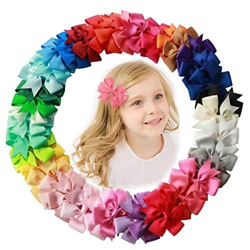 AUTOWT Pinzas para el cabello para niñas, 40 piezas 3 'Baby Cute Grosgrain Boutique Molinillo cinta sólida Mini molinillos para el cabello Pinzas cocodrilo para niñas Bebés Niños pequeños uso diario (40 Piezas - 20 Colores)