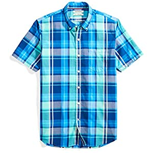 Men's Slim-Fit Short-Sleeve Large-Scale Plaid Shirt