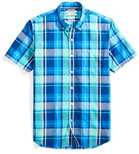 Goodthreads Men's Slim-Fit Short-Sleeve Large-Scale Plaid Shirt, Blue/aqua, XX-Large
