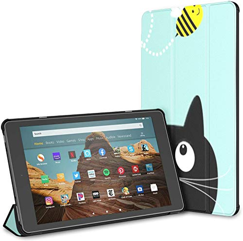 Case for All-New Amazon Fire Hd 10 Tablet (7th and 9th Generation,2017/2019 Release),Cute Cartoon Cat Bee Dash Line Case Cover with Auto Wake/Sleep