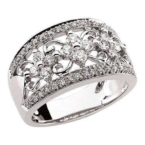 14ct de oro blanco anillo de diamantes en bruto 3/4ct - Talla L 1/2 - JewelryWeb