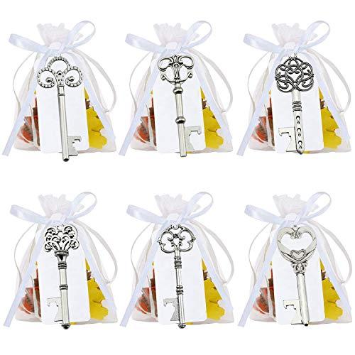 FUNNY HOUSE 60 PCS Argento Chiave Apribottiglie per Matrimonio, Bomboniere Skeleton Key Bottle Openers con Sacchetti Organza Bianco e Tag Card, 6 Stili