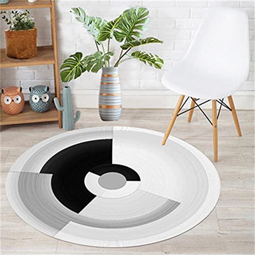 Alfombra Redonda Negro Gris Alfombras Sala de Estar Suave Grande Antideslizante Lavable para Sillon Salon Cocina el Recibidor Hogar Cocina Sala de Estar Dormitorio Rugs 6VYOI-120x120cm