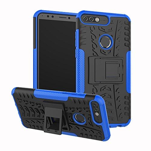 Huawei Y7 Prime (2018) Hülle,TenYll 2in1 Silikon Rückseite Schutzhülle,Heavy Duty Tough Rugged Shock Proof Hülle,Mit Halterung Doppeltem Schutz Cover für Huawei Y7 Prime (2018) -Blau