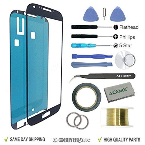 ACENIX® vervangende Samsung Galaxy S4 i9500 i9505 zwarte kleur gebroken scherm lens reparatie kit voor Samsung Galaxy S4 i9500 / i9505 met 17 stuks vervanging kits, 1 x rol van 2mm dubbelzijdig plakband, 1 x rol gouden Molybdeen draad, 1 x Super Twezzer, 1 x hoge kwaliteit reinigingsdoek, 1 x zuignap met vereiste schroevendraaiers & Plastic Pry Gereedschap