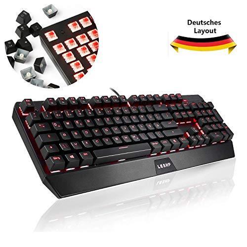 Gaming Tastatur, LESHP Mechanische Tastatur beleuchtete 105-Tasten Mechanical Keyboard Roter Schalter Metall Platte 100% Anti-Ghosting für Gamer und Schreibkraft (Deutsches Layout Qwertz Tastatur)