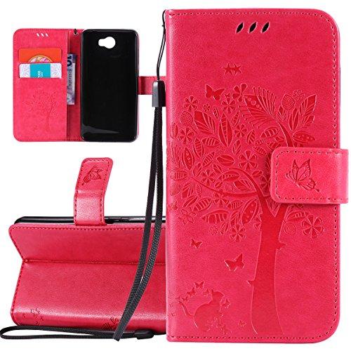 ISAKEN Hülle für Huawei Y5 II, PU Leder Brieftasche Geldbörse Wallet Hülle Ledertasche Handyhülle Tasche Schutzhülle Etui mit Handschlaufe Strap für Huawei Y5 II / Y6 II Compact - Baum Katze Rosa